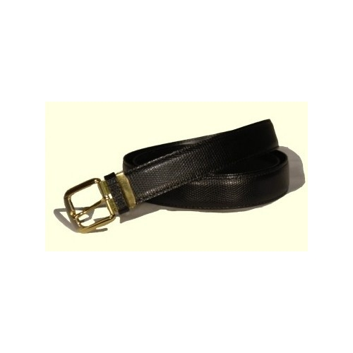 Split leather belt bulging.