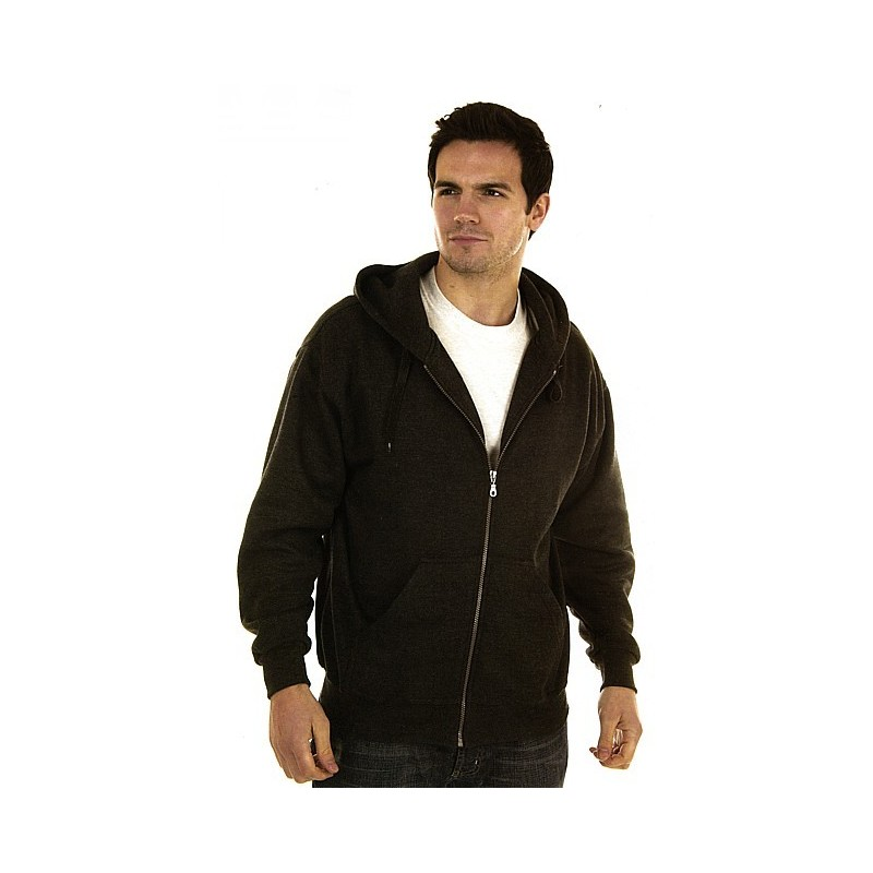 Sweat capuche zippé poly/coton 340 g/m²