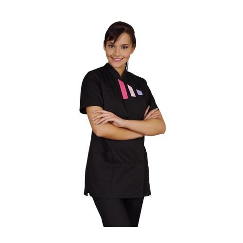 Tunique de travail pour Dame Inès avec bandes colorées