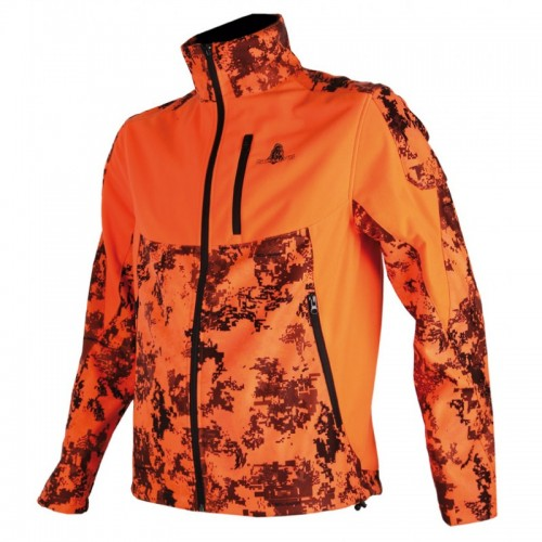 Blouson softschellsilentek camouflage orange