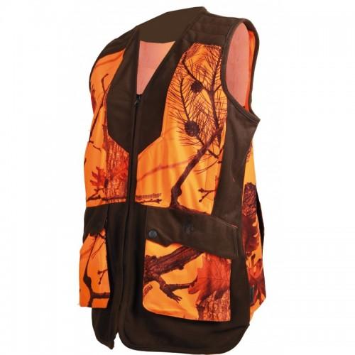 Gilet camouflage orange pour femme