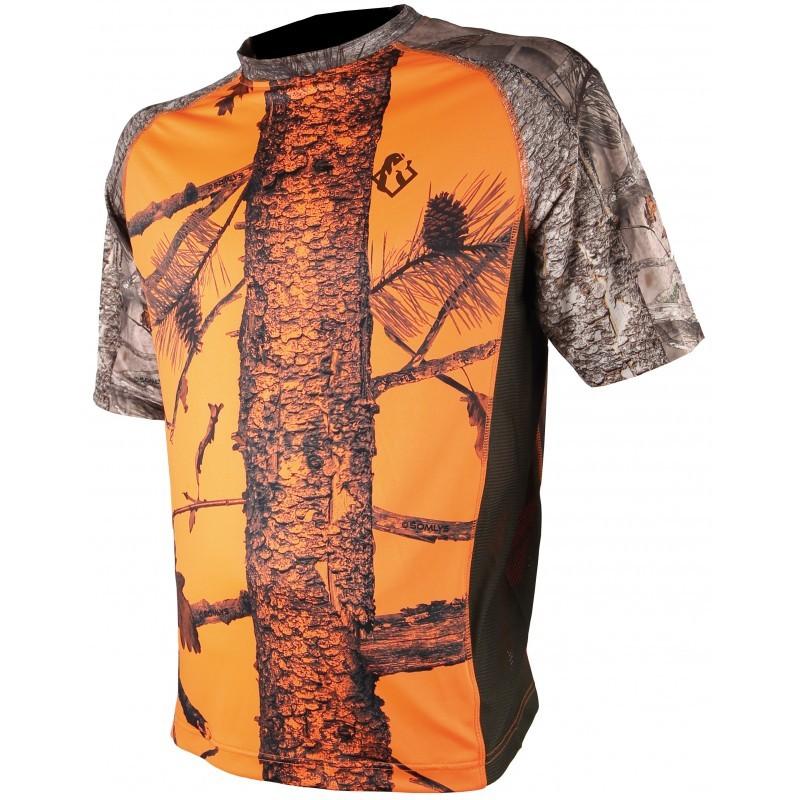Tee shirt Spandex camo orange 3DX