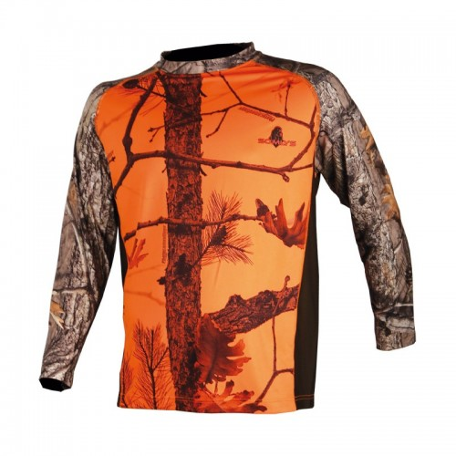 Tee shirt manches longues camouflage orange
