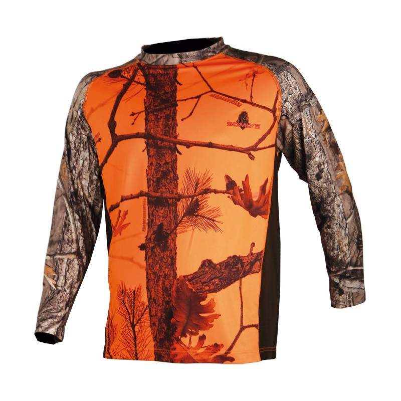 Tee shirt manches longues camouflage orange