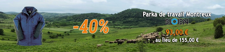 - 40 % sur la Parka de Travail Montreux SIOEN !